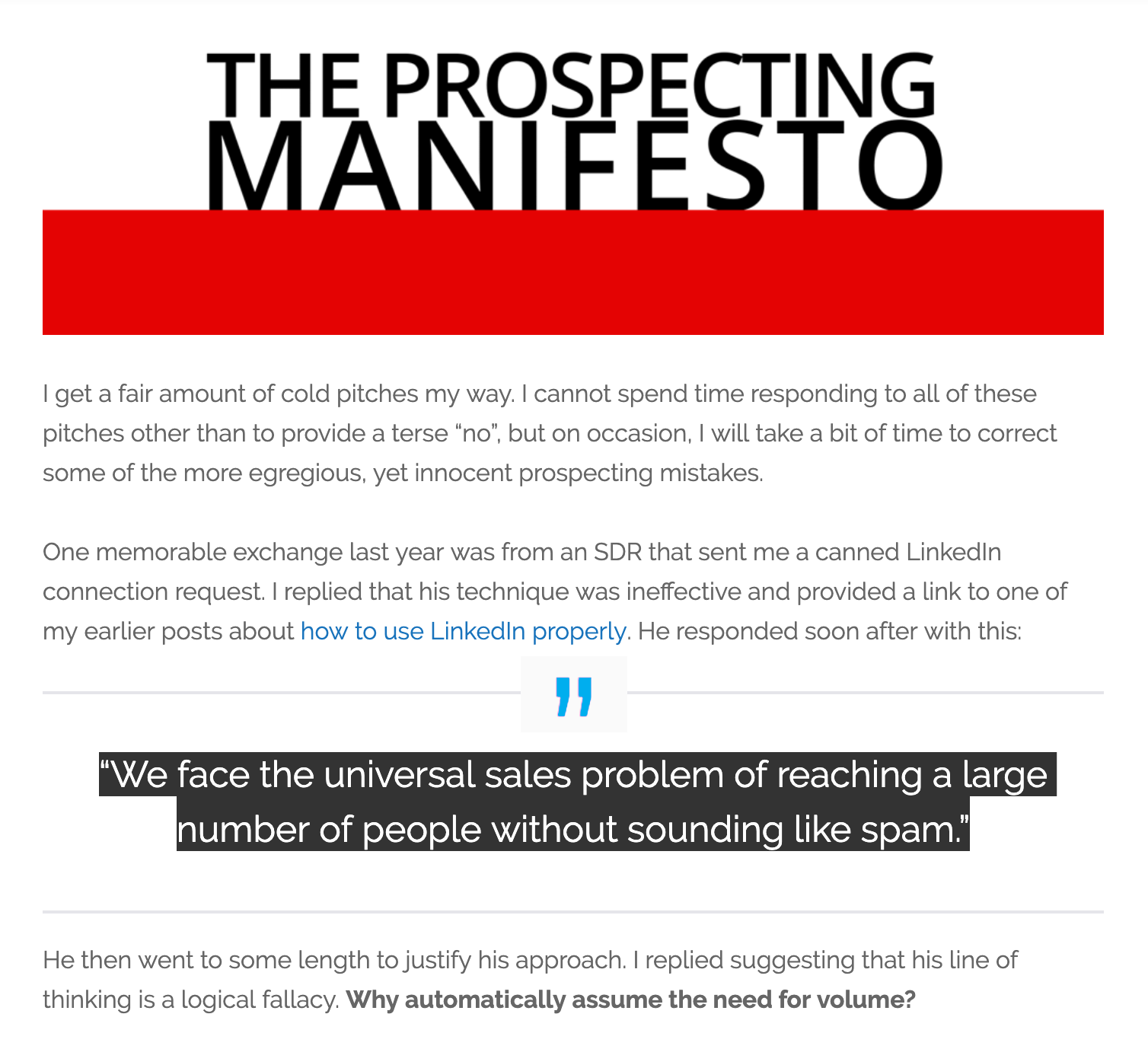 Enterprise Sales Prospecting Manifesto Mark Birch