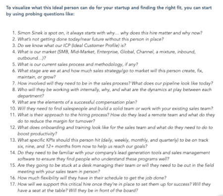 Questions to ask when building a sales hiring scorecard